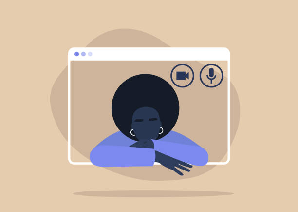 Young black female character using a video call interface, remote online meeting, social distancing, working from home